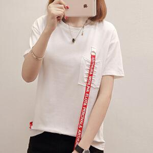 夏季韩版清新学生宽松T恤女夏短袖别致小设计纯色T恤潮