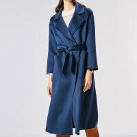 水波纹双面羊绒大衣女中长款2018新款高端宽松韩版纯手工毛呢外套