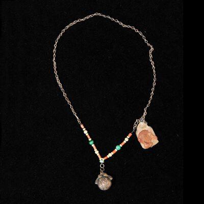 清 银配珊瑚、松石、孔雀石铃铛