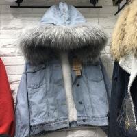 2018秋冬新款韩版加厚df原宿羊羔毛牛仔外套女加绒大毛领女冬 蓝色牛仔灰领 S