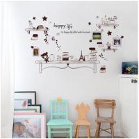 文艺盆栽书架创意相框照片墙贴纸餐厅饭店餐桌背景墙装饰墙壁贴画