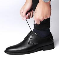 杰拉格皮鞋男士休闲商务真皮春夏透气软皮正装尖头爸爸鞋工作男鞋