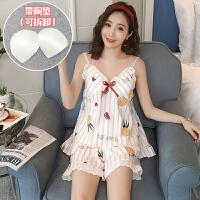 甜梦莱吊带睡衣女夏季可爱菠萝纯棉短袖薄款两件套装性感韩版学生家居服 WX#8350菠萝