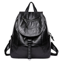 女士包包新款潮双肩包女韩版时尚个性百搭大容量背包软皮女包 黑色