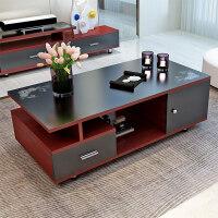御目 茶几 简约客厅组合钢化玻璃欧式迷你带抽屉茶桌现代小户型美式客厅摆件创意家具