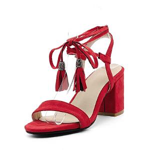 O'SHELL欧希尔夏季上新007-77-3韩版磨砂绒面粗跟高跟女士凉鞋
