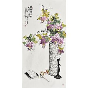 当代画家杨怀山138 X 70CM花鸟画gh02248