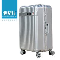 2018新款拉杆箱行李箱铝框旅行箱万向轮女男26学生密码箱包20寸24皮箱子28 银色