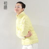 初语立领羽绒服女短款新款加厚显瘦学生糖果色雪花印花短外套女8530942008