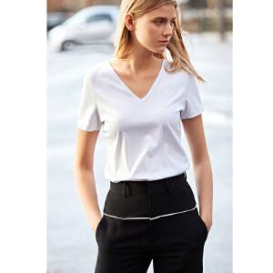 【到手价90.9元】Amii极简基础款修身V领短袖T恤2019夏新款丝光棉弹力百搭上衣
