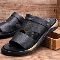 男鞋夏季新款纯色真皮凉鞋沙滩鞋舒适露趾凉拖两用拖鞋透气鞋 黑色