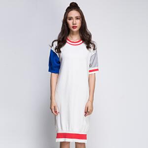灏领衣尚T恤裙2017春夏新品开叉宽松大面积撞色欧美版连衣裙女装