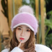 兔毛帽子女冬季潮保暖鸭舌帽休闲毛线帽贝雷针织棒球帽女