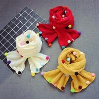 秋冬儿童宝宝毛线围巾男童保暖针织围脖女童彩球围巾
