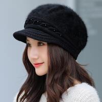 帽子女秋冬季韩版时尚针织帽毛线鸭舌帽加绒加厚保暖帽出游护耳帽