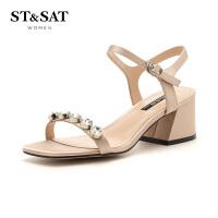 【大牌日3折】星期六(ST&SAT)夏季专柜同款水钻粗跟时尚凉鞋SS82115392