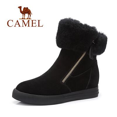 Camel/骆驼女鞋  新款侧拉链休闲时尚短靴羊羔毛 女靴
