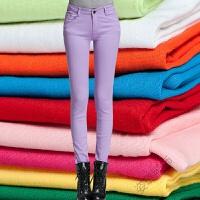 糖果色铅笔裤女小脚长裤 韩版中腰弹力彩色牛仔裤