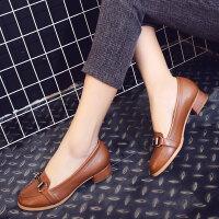 娜箐箐新款牛皮复古圆头粗跟单鞋低跟舒适工作女鞋