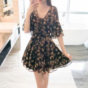 2017夏装新款韩版小清新显瘦V领碎花喇叭袖雪纺连衣裙沙滩裙