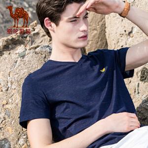 骆驼男装 夏季新款花纱V领纯色印花男青年微弹短袖T恤衫