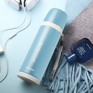 日本泰福高 便携带盖随手杯 创意学生水杯防漏随身塑料泡茶杯子600ML