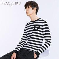 太平鸟男装 春季新款男士纯棉圆领黑白条纹数字缝标毛衫B1EB71124