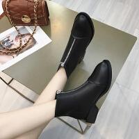 靴子女2019秋款时尚粗跟低跟马丁靴女英伦风学生鞋短靴女春秋单靴 黑色