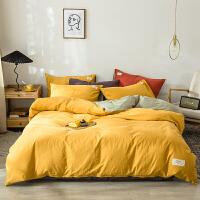 水洗棉四件套全棉纯棉网红床单被套纯色床笠款裸睡床上用品三件套