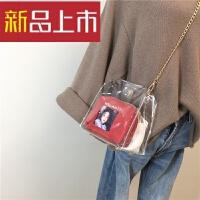 夏季小包包塑料透明印花女包链条斜挎包包时尚单肩包