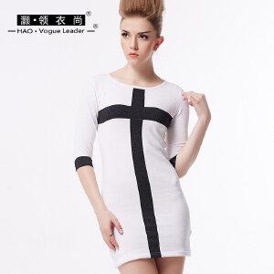 灏领衣尚新款包臀连衣裙性感五分袖修身撞色十字女士针织裙铅笔裙