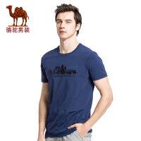 camel骆驼男装  夏季新款时尚青年圆领印花简约休闲棉质短袖T恤衫男