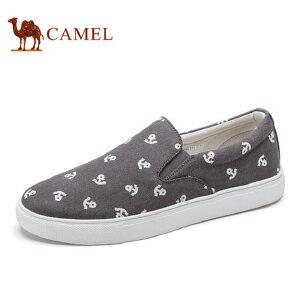 camel 骆驼男鞋 春季新品帆布鞋男鞋子休闲平板鞋透气套脚鞋