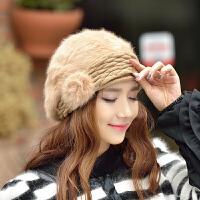 冬季帽子女士贝雷帽针织毛线保暖护耳秋冬兔毛帽