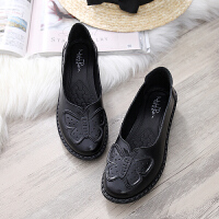 真皮软底妈妈鞋夏季单鞋中年女鞋舒适平底中老年皮鞋奶奶老人防滑 35 标准尺码