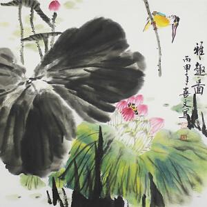 山东省美术家协会会员 刘喜文 《雅趣图》69*69cm