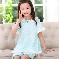 儿童睡衣夏季女童短袖夏天女孩公主中大童子家居服套装薄款