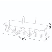 花架阳台外挂简约创意悬挂式栏杆长方形铁艺花盆种菜盆多肉架 中等