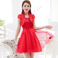 敬酒服新娘孕妇短款红色婚纱礼服春夏季结婚回门装订婚连衣裙 红色 短袖款