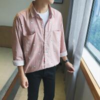 秋冬秋季长袖韩版男士衬衣长袖衬衫尖领常规青春流行个性衬衫