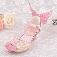 亮晶晶女童凉鞋公主皮鞋搭配儿童舞台冰雪奇缘礼服裙蓝色/粉/白色