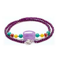 芭法娜 紫魅 天然薰衣草紫水晶桶珠项链 配紫牙乌石榴石 高端系列