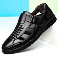 夏季男士凉鞋真皮中年透气洞洞鞋40夏天50岁中老年爸爸休闲凉皮鞋