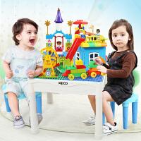 【送积木+桌椅防滑垫】儿童玩具积木桌学习桌游戏桌 兼容乐高积木拼插宝宝玩具积木2岁多功能益智男女礼物