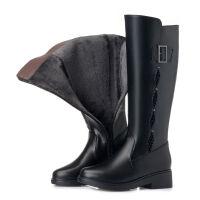 头层牛皮平底长筒靴女秋冬不过膝平跟休闲中长靴加绒高筒靴棉靴子