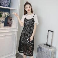 蕾丝连衣裙女两件套2019夏季时尚收腰显瘦中长款吊带套装裙子