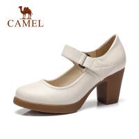 Camel/骆驼女鞋春夏季新款女鞋休闲百搭舒适高跟鞋粗跟春单鞋女