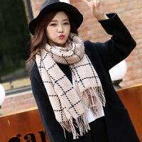 针织毛线围巾秋冬季女英伦格子长款披肩两用学生时尚保暖