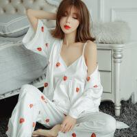 日本春秋和服性感吊带胸垫BRA三件套睡衣女 夏甜美公主家居服套装2018新品