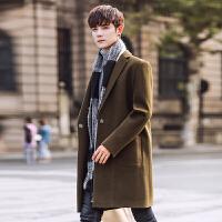 秋冬风衣男中长款外套韩版修身毛呢大衣青年潮流男士上衣
